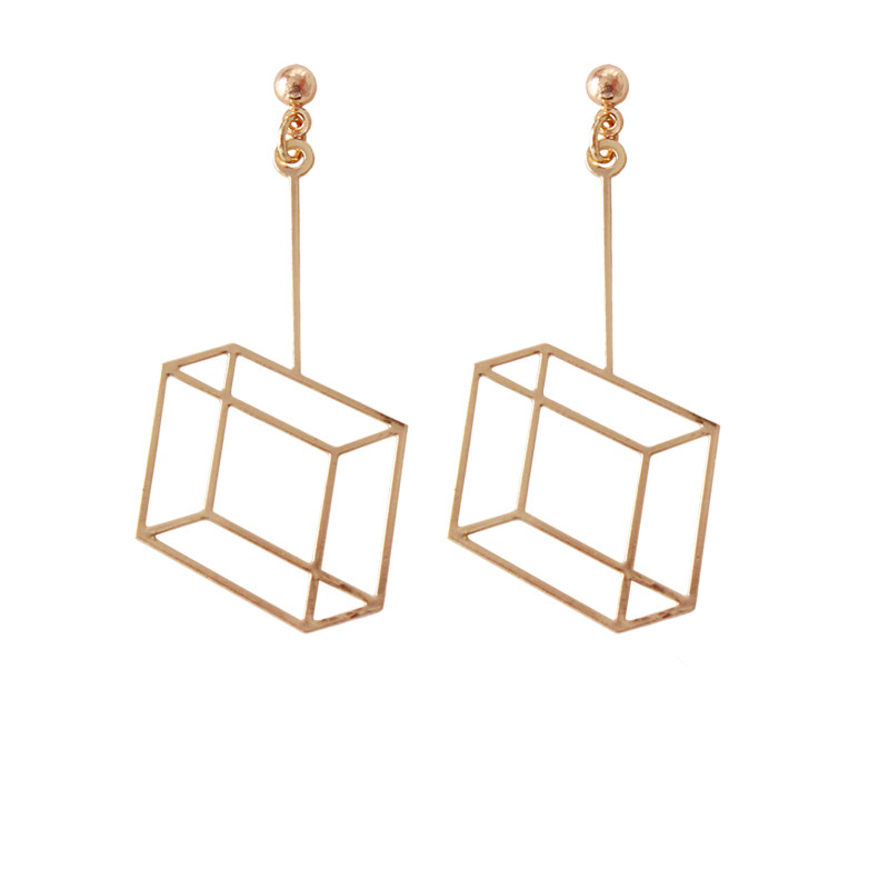 Solid geometry square hollow stud earrings in 2017 fashion simple personality girl metal earrings