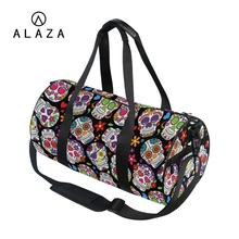 ALAZA Skull Printing Canvas Gym Travel Bags Sport Outdoor Women Large Pocket Casual Tote Handbag Shoulder Bag For Men women canvas gym sport backpack teenage girls flowers printing college daily double shoulder bag outdoor travel stroge handbags