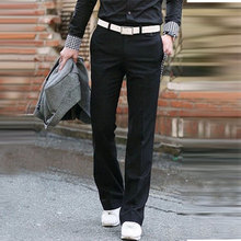 Business bell Bottom pants Mens Slim Vertical Straight trousers British Korean Suit Drooping Big Size 28-37
