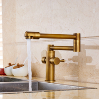 High End Unique Design Kitchen Sink Mixer Taps Antique Brass Deck Mounted Single Handle