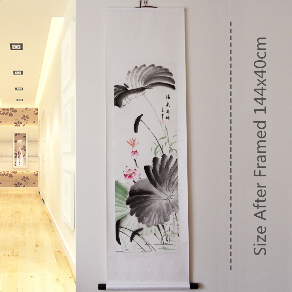 popular chinese wall origin buy cheap chinese wall origin lots rice paper hand painted lotus chinese original art watercolor flower ink wall murals wall scroll