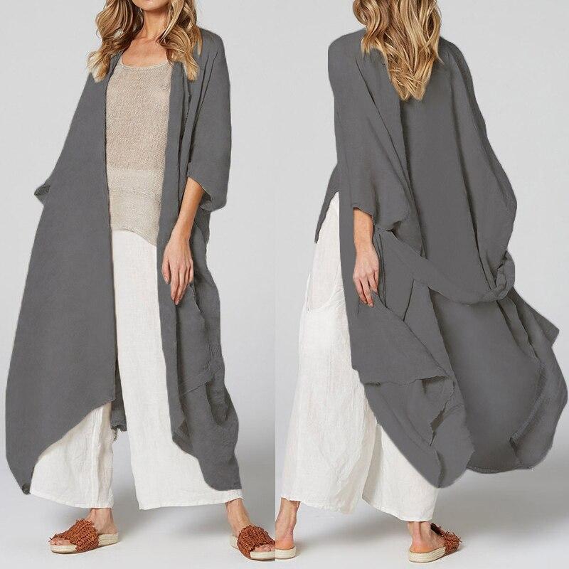 Celmia Women Vintage Shirts Kimono Cardigan Long Blouse Belted Casual Loose Beach Cover Up Blusas Femininas Plus Size Tops 5XL(China)