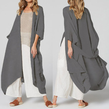 Long Blouses Cardigan Vintage Shirts Beach-Cover-Up Womens Kimono Celmia Plus-Size Casual