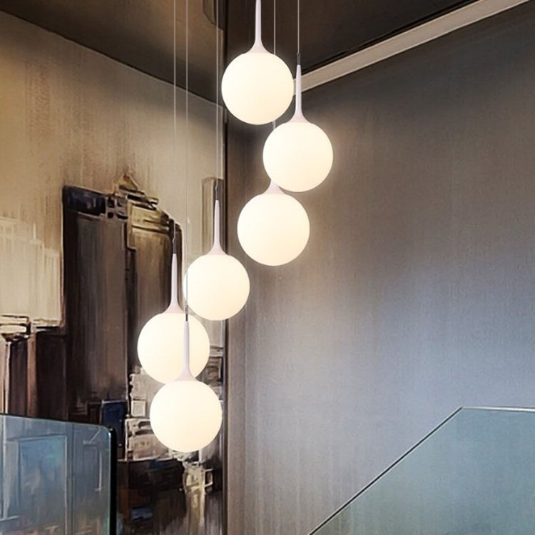 Modern minimalist stair chandelier rotating long chandelier Villa double creative glass ball personality restaurant LED lightsModern minimalist stair chandelier rotating long chandelier Villa double creative glass ball personality restaurant LED lights