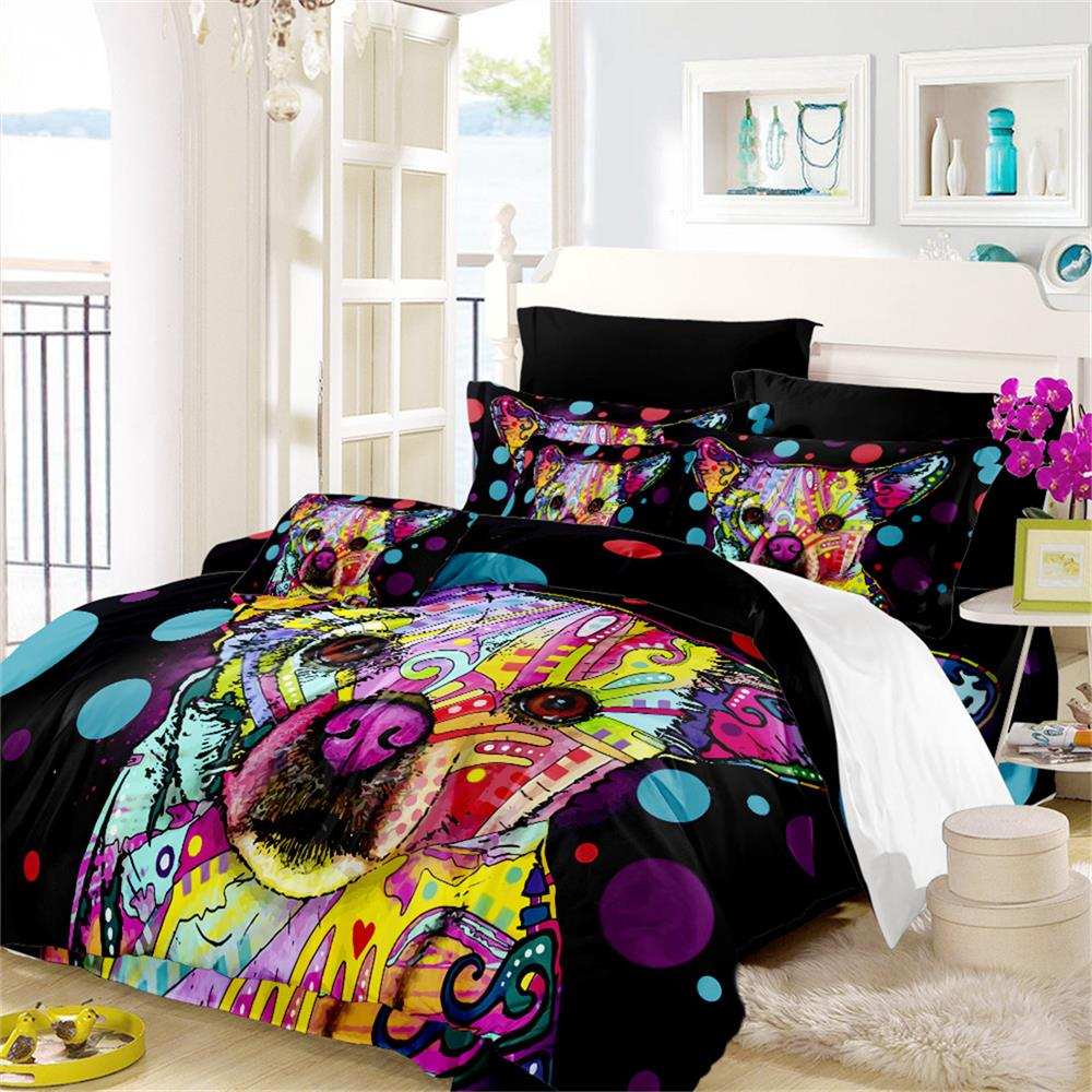 Colorful Graffiti Dog Bedding Set Kids Christmas Gift Duvet Cover Set Impressionist Artistic Bed Cover Bedclothes Home Decor D49