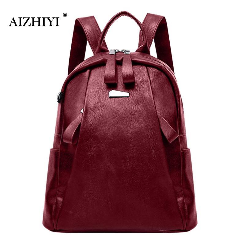 Women Backpack Soft PU Leather Travel Casual Solid Style Zipper Bag For Teenage Girls Shoulder Bag Vertical Square Backpacks