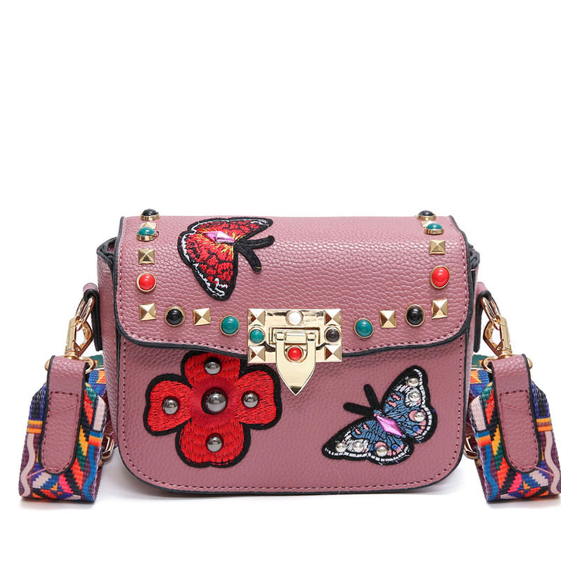 2017 Butterfly Animal Pattern Fashion Mini Women Bags Rivets Embroidery Floral Bag Designer PU Leather Crossbody