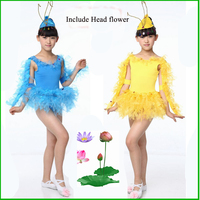 Hot Sell Children Performance Dress With Headdress Flower Kids Animal Clothes Child Dancing Costume With Feather 16