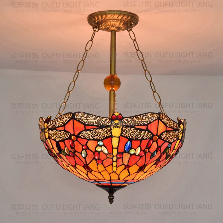 40cm European Style Tiffany Dragonfly Pendant Light Retro Art Glass Personality Decorative Bar Restaurant Hanging Lamp|hanging lamp|lamp stylestyle lamp - title=