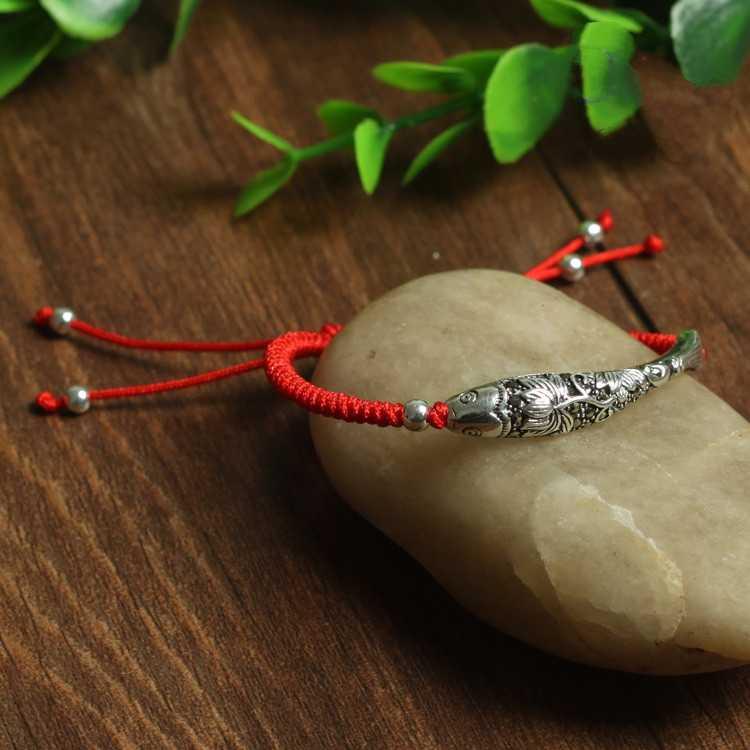 Настоящее серебро 925 проба рыбы браслет на удачу Вощеная полоска амулет фшион ручной работы красный браслет ювелирные изделия