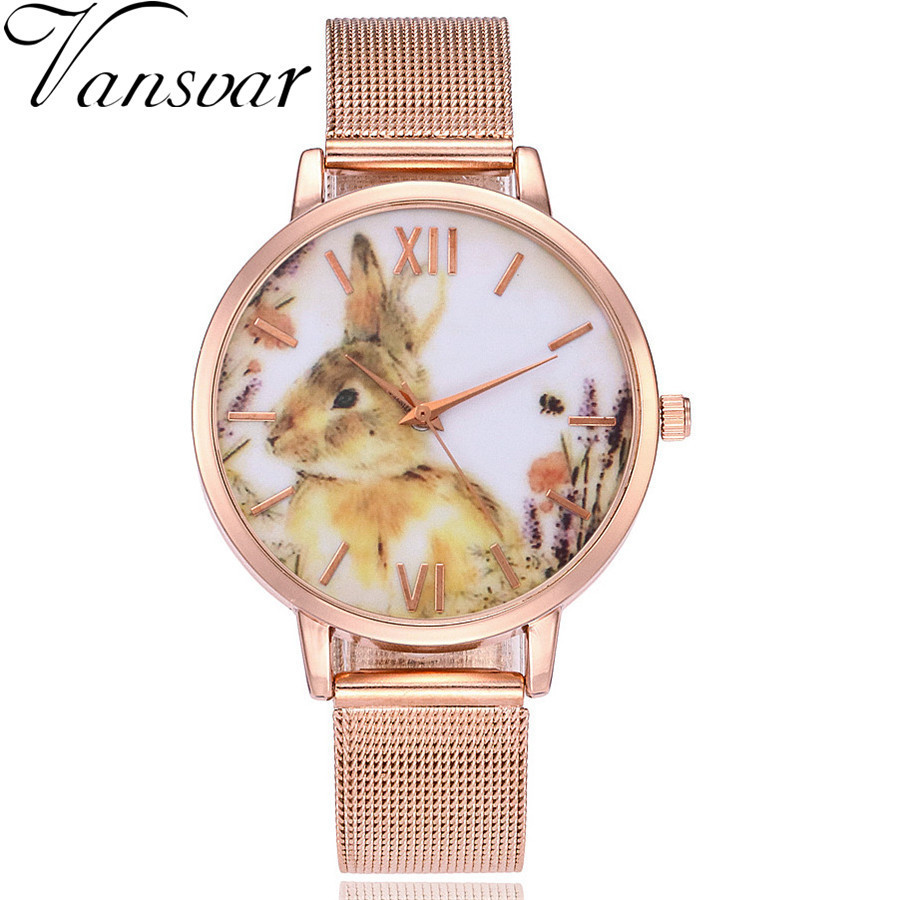 цены Vansvar Brand Fashion Women Rabbit Watch Rose Gold Mesh Band Wristwatches Casual Women Ladies Quartz Clock Relogio Feminino