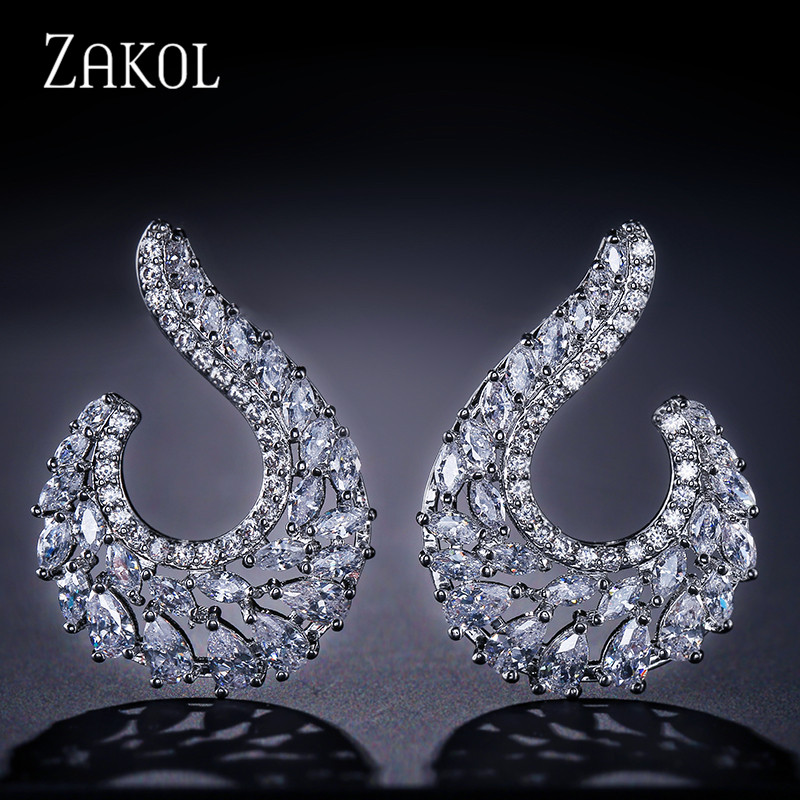 ZAKOL Elegant Symmetrical Leaf Design Stud Earrings With Cubic Zircon Big Jewelry For Wedding Women FSEP2038 a suit of elegant rhinestone maple leaf necklace and earrings for women