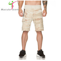 2017 New Men Camouflage Gyms Shorts Bodybuilding Knee Lenght Pants Casual Trousers Fashion Brand Runner Short
