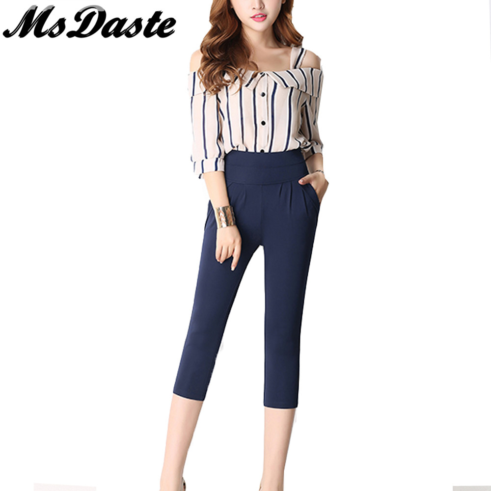2019 Summer Harem Pants Elastic High Waisted Calf-length Women Casual Thin Pants <font><b>Pantalones</b></font> <font><b>Mujer</b></font> Big Plus Size S~<font><b>4XL</b></font> 5XL 6XL image