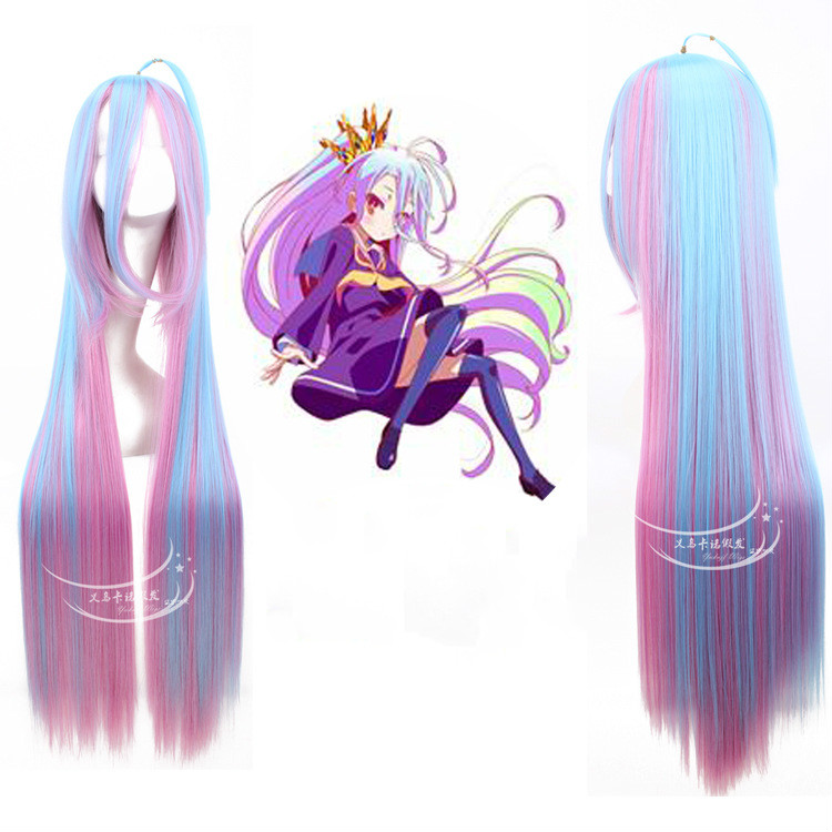 No game no life!ombre color hair accessories 100cm 430g synthetic straight hair jewelry extension for cosplay wigs