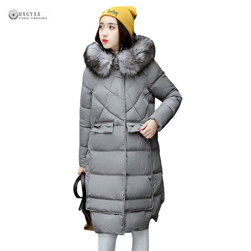 2017 New Winter Jacket Women Long Cotton Coat Big Yard Hooded Female Parkas Pure Color Pockets Fur Collar Warm Outerwear OK973 women winter coat leisure big yards hooded fur collar jacket thick warm cotton parkas new style female students overcoat ok238