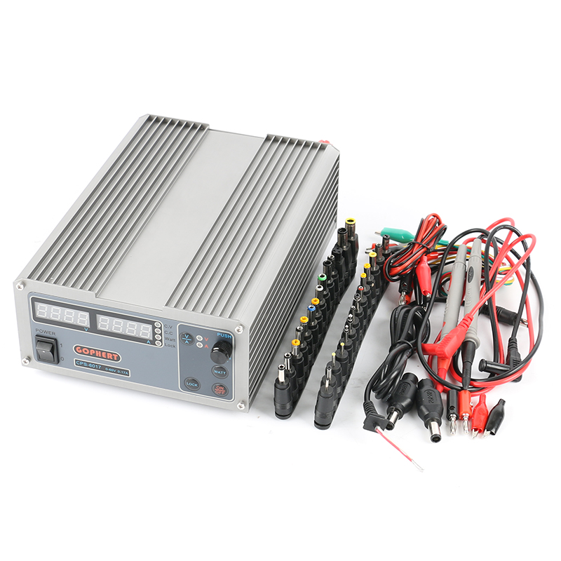 CPS-6017 Adjustable Digital DC Power Supply 60V 17A OVP/OCP/OTP High Power Compact Power Supply 220V+DC Jack Set cps 6003 60v 3a dc high precision compact digital adjustable switching power supply ovp ocp otp low power 110v 220v