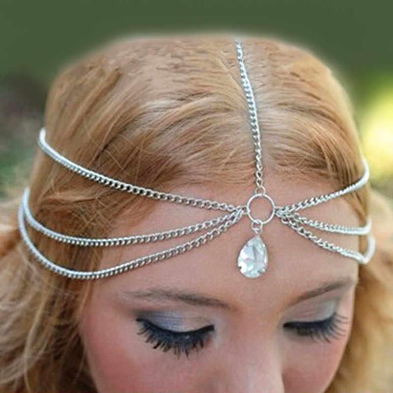Venta caliente nueva encantadora Cadena de borla multicapa gotas de agua diadema de cristal cadena de la frente del pelo para mujeres Boho joyería del pelo