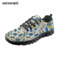 INSTANTARTS Popular Knitting Lover Print Women Summer Mesh Flat Shoes Comfort Breathable Sneaker Shoes for Female Girls Ladies