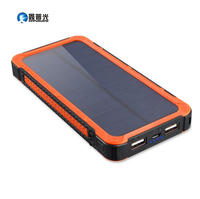 Xinpuguang 20000mAh Solar Power Bank Orange Green Mobile Charger 2 USB Ports Portable Charger for Smart Phone Battery Light