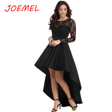 Women Dress Sexy Party Long Sleeve Lace High Low Satin DRESS