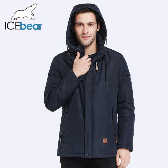 ICEbear 2017 Outer Pocket Zipper Design Men Jacket Spring Autumn New Arrival Casual Fashion Parka Solid Thin Cotton Coat 17MC010