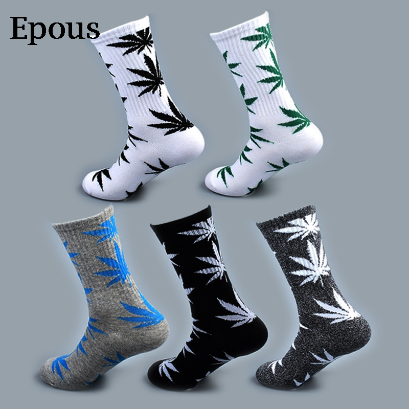Epous Cool Bamboo Summer Women Men's Funny Ankle   Socks   Hemp Meias Long Happy Maple Leaf Sokken Cotton Weed Grass White Black