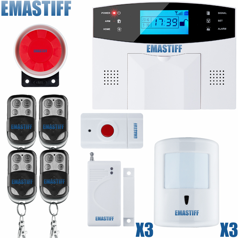 Russian/French/Spanish Voice Prompt GSM SIM Home Burglar Security Alarm System Remote Control Kit Infrared Detector Door Sensor quad band gsm smart home burglar security alarm system w detector sensor remote control