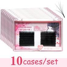 NAGARAKU 10 cases Eyelash Extensions Auto fans eyelash Easy to fan lash 0.03mm Mixed Length Faux Mink Eyelash Russian volume