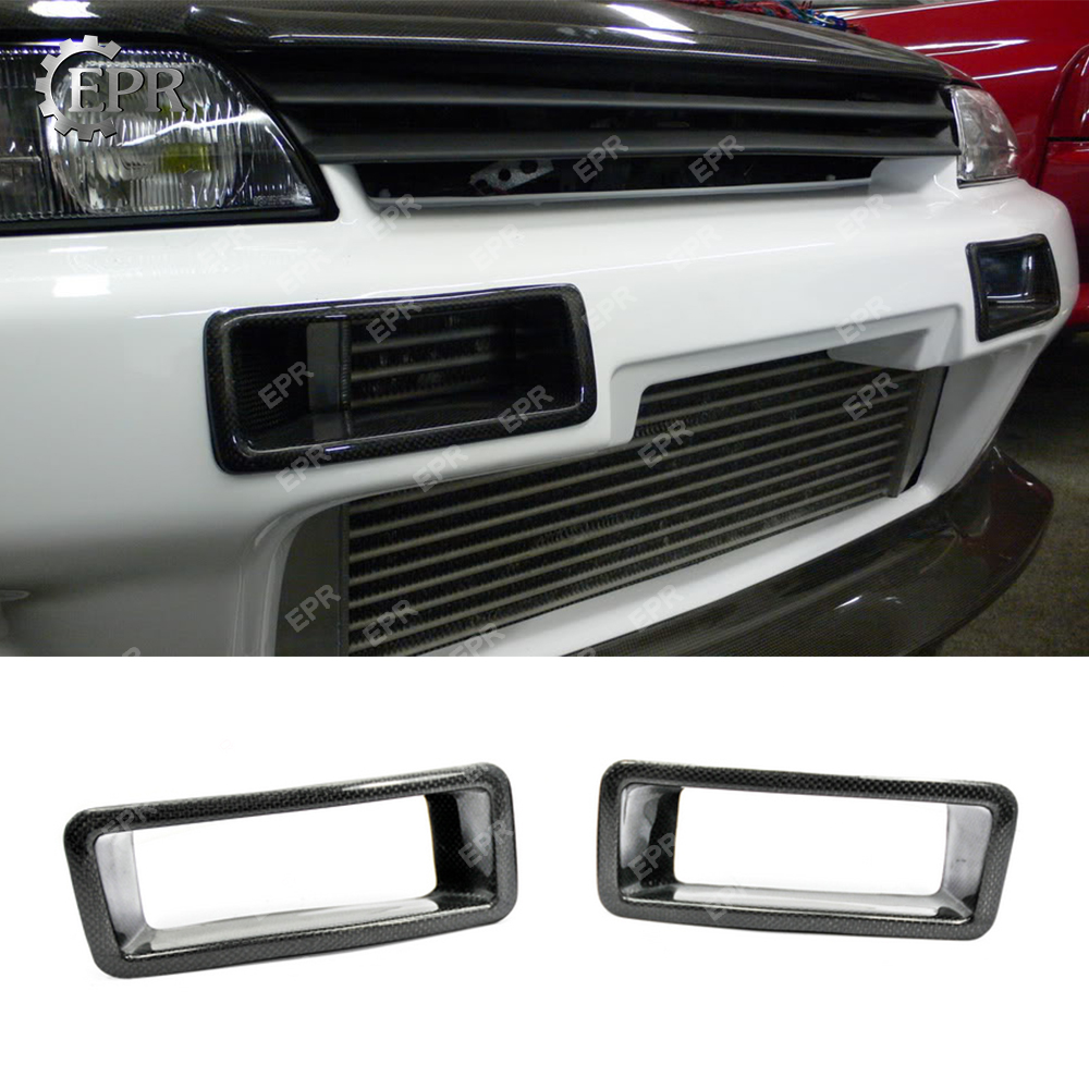 For GTR R32 Carbon Fiber Front Brake Cold Air Duct Body Kit For Nissan R32 GTR Tuning Bumpers Vents Duct Racing Auto Part