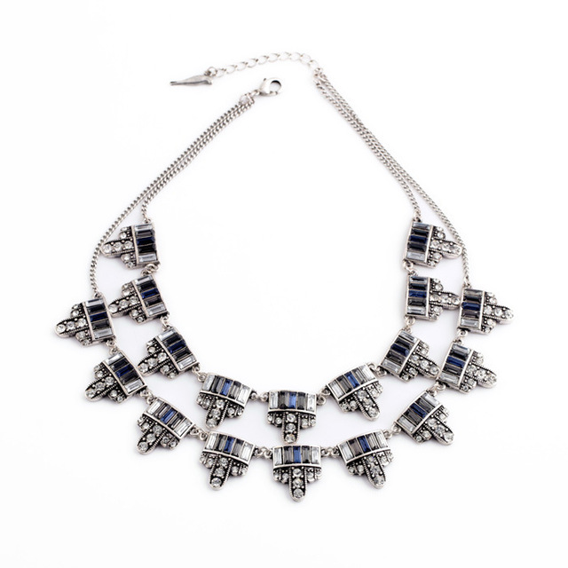 Famous Brand Jewelry Isadel Designer Inspired Luxe Double Layers Sparkling Jardins du Trocadero Two-Row Necklace Pendant