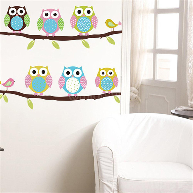 New Cute DIY Removable Colorful Six Owls Bird Branch Vinyl Decal Wall  Stickers For Kids Rooms Part 70