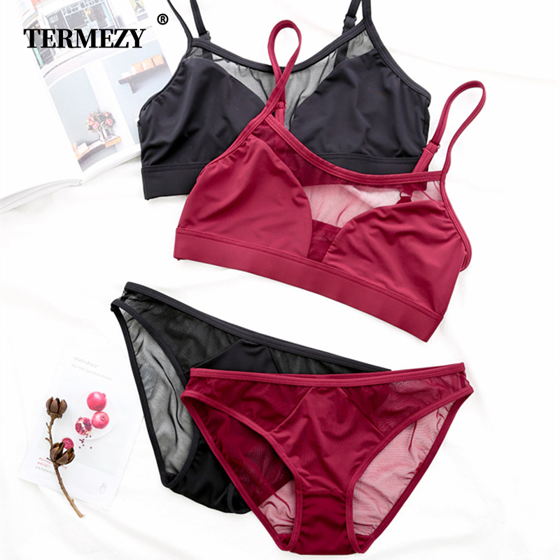 TERMEZY 2019 New Top Sexy Underwear Ultra-thin Lingerie Solid Lace See Through Intimates   bra     set   Sexy Satin Brassiere