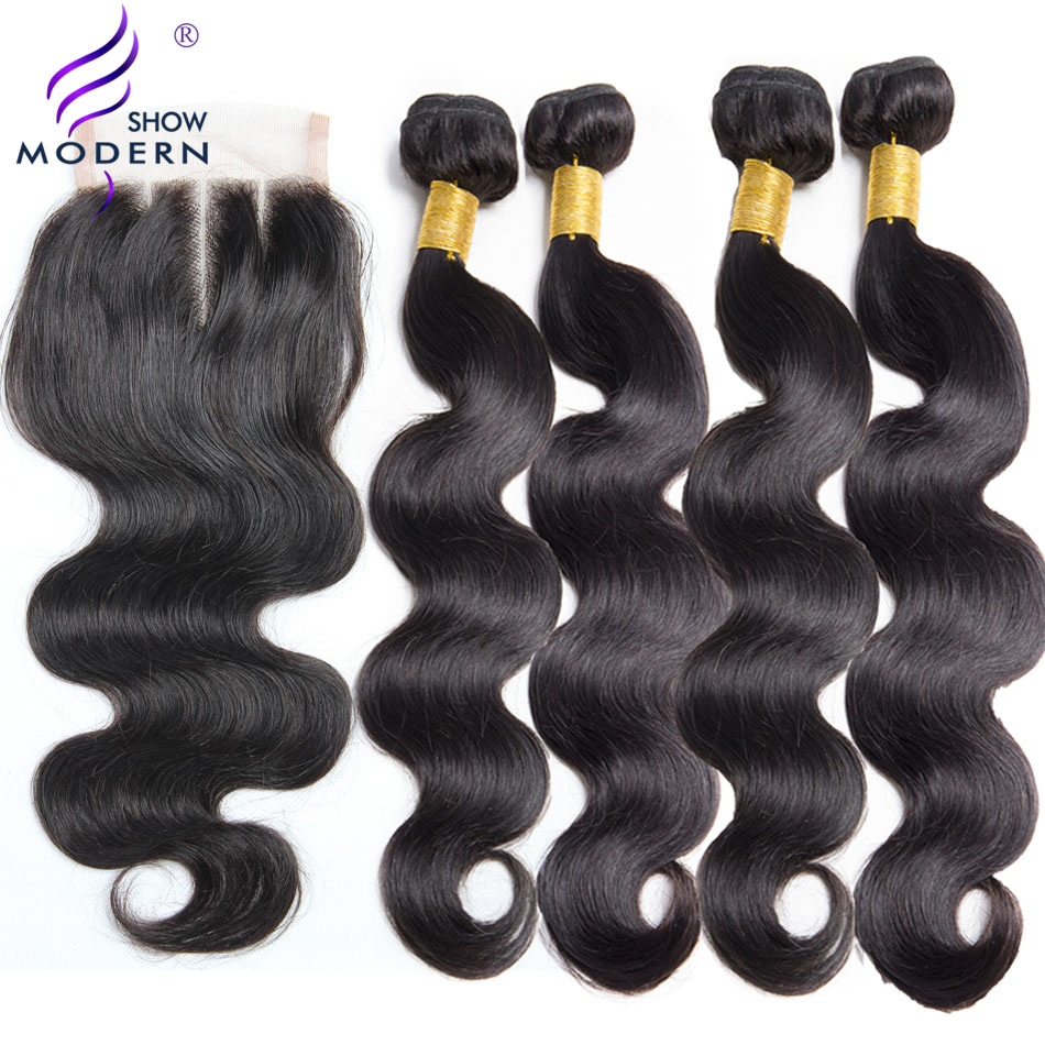 Body Wave 4 Bundles With Closure Brazilian Hair Weave Modern Show Non Remy Hair Extensions Human Hair Bundles With Closure