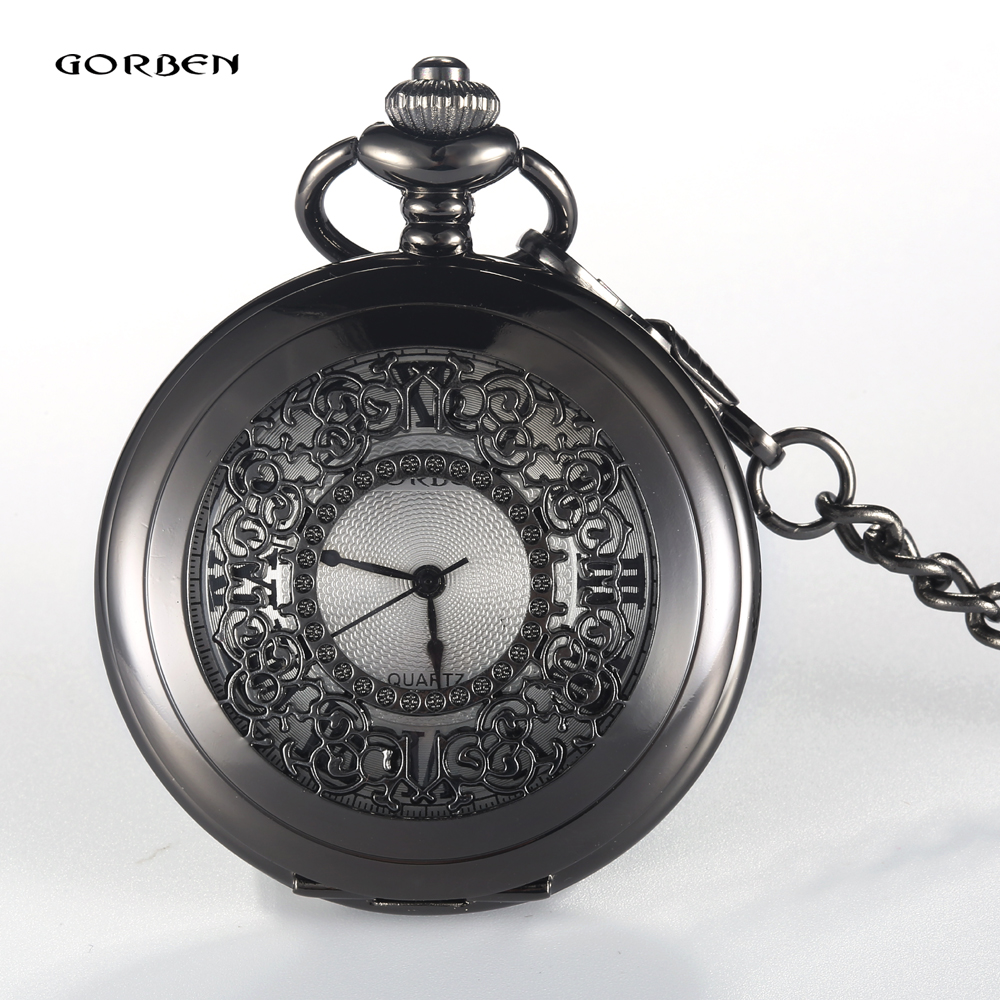 GORBEN Bronze Hollow Quartz Pocket Watch Roman Numbers Display Necklace Chain Clock Electronic Female Ladies Mens Watches Gifts