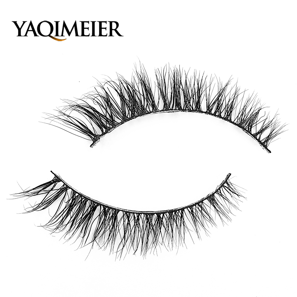 96d7fa98a35 YAQIMEIER 3d Mink Messy Lashes Theatrical Makeup Winged Natural Long Fake  Eyelashes Private Label Brand Lashes