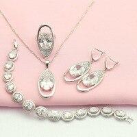WPAITKYS Hoop Schip Wit Zirconia Zilveren Kleur Bruiloft Sieraden Sets Voor Vrouwen Oorbellen Armband Hanger Ring Gratis Geschenkdoos