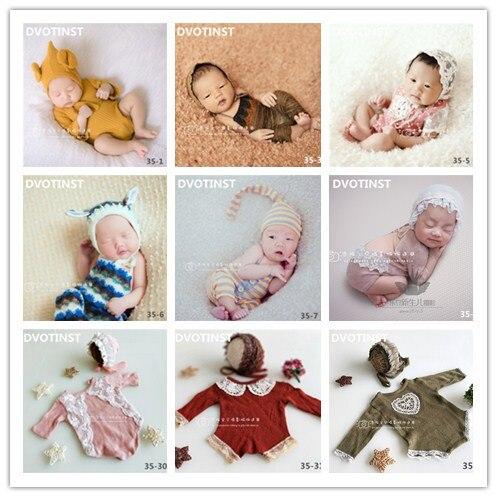 Dvotinst bebé recién nacido apoyos de fotografía de encaje de punto de ganchillo sombrero + mameluco de fotografía accesorios bebé niño estudio de rodaje foto