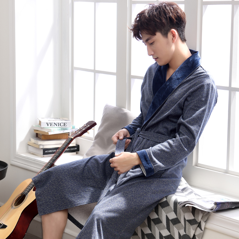 Bathrobe Man Long-Robe Pure-Cotton Sleepwear Soft Spring Pijama Autumn Spas Lengthen