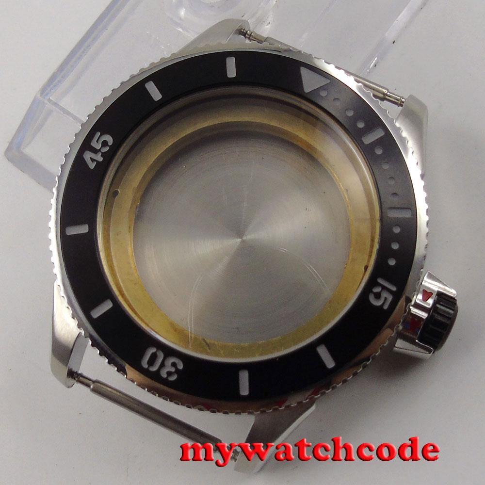 43mm ceramic bezel sapphire cystal Watch Case fit 2824 2836 8215 8205 MOVEMENT цена