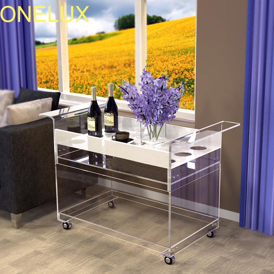 (Flat Packed) Rolling Acrylic Bar Cart With Wine Bottle Rack, Lucite Sofa Side Trolley On Wheels