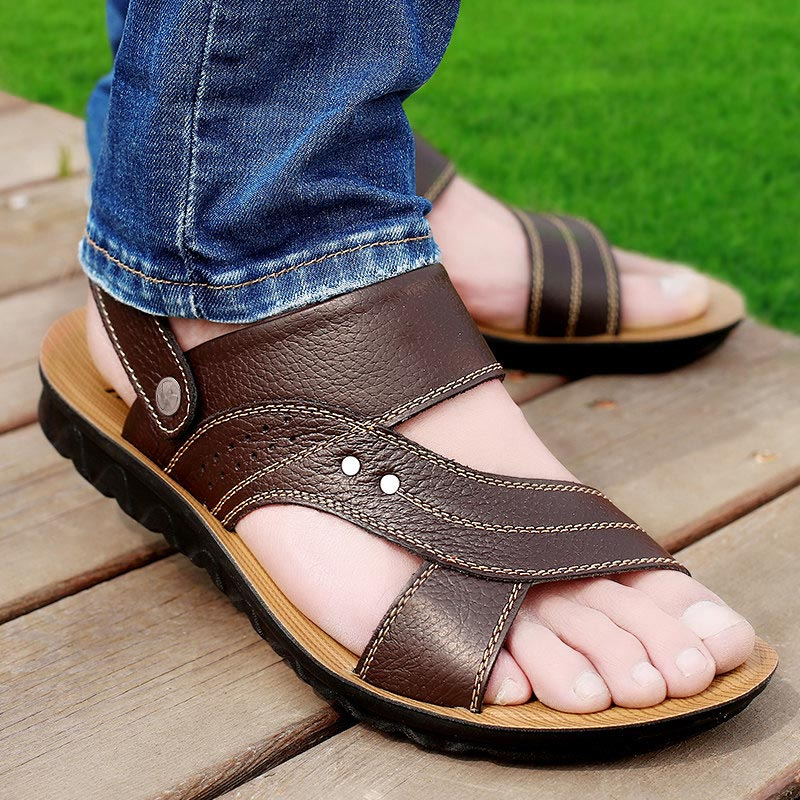 Men sandals 2018 hot fashion beach sandals and slippers for dual use summer men shoes hand sewing breathable shoes men sandalia