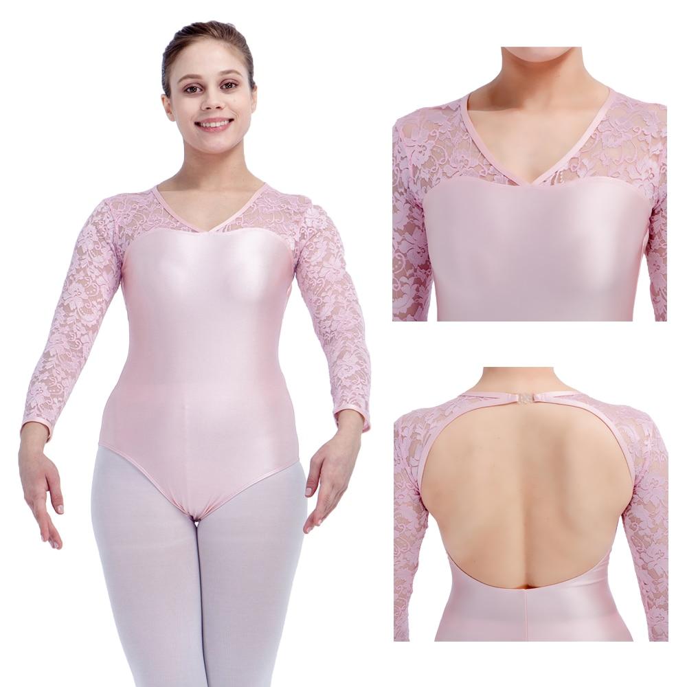 Pale Pink NylonLycra Lace Long Sleeve Ballet Leotard Girls Dancewear Black Women Dancing Bodysuit