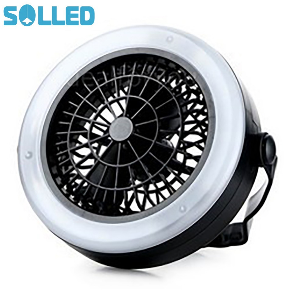 SOLLED Outdoor Multifunctional Portable Energy-Saving Tent Lights Camping Battery LED Fan Light