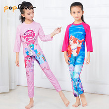 POPFAVOR Brand Girl's One Piece Swimsuit Long Sleeved Children Swimwear Children's Sun Protection Clothing Bodysuit Swimsuit(China)