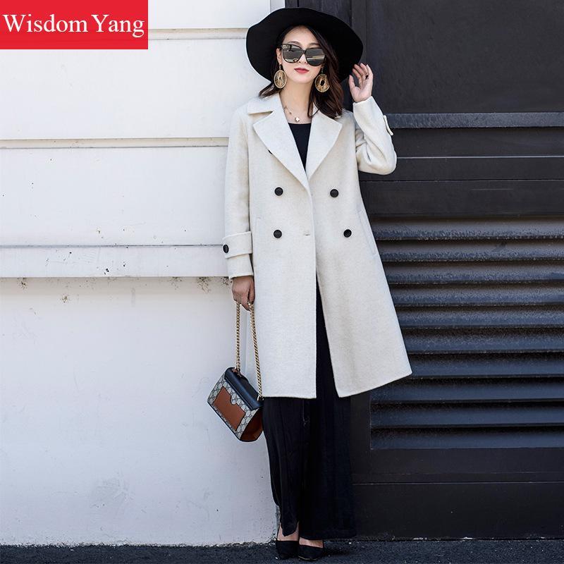 À Survêtement Élégant 2018 Laine D'hiver Mouton Beige Pardessus Long Tranchée Manteau Boutonnage Femelle Mince De Double Femmes Coat Manteaux Dame 6UWWdq