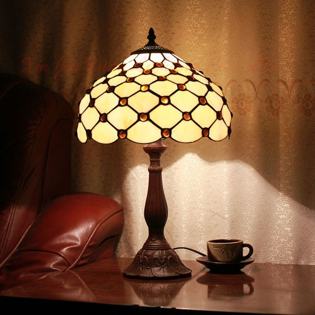 Antique 12 Tiffany Style Modern Table Lamp Stained Glass Lustre
