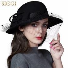 FANCET 100% Wool Church Felt Hat Women Vintage Fedoras Autumn Winter Derby Fashion Trilby Handmade Beads Wholesale 88352