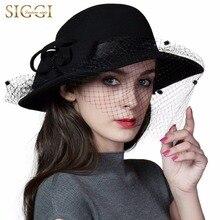 FANCET 100% lana Iglesia sombrero Vintage mujeres sombreros de invierno  otoño Derby de moda sombrero hecho a mano cuentas al por. 9c9a293323d9