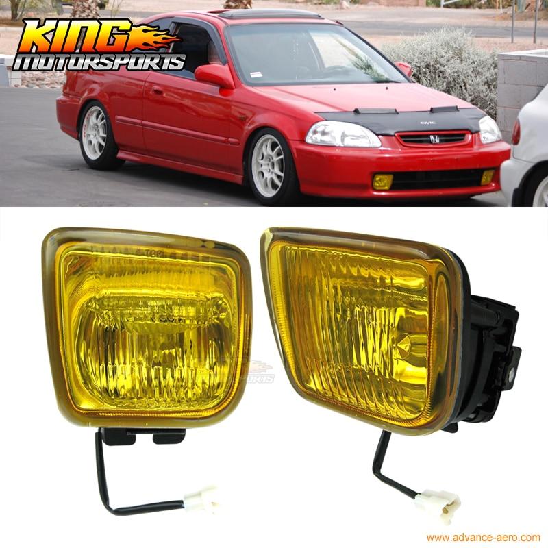 For Honda Civic Ek Jdm Yellow Fog Lights Lamps Us Domestic Free Shipping